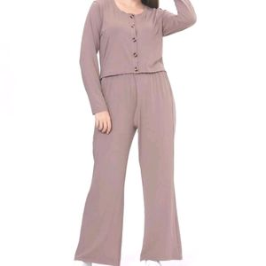 Shein Plus Solid Button Front Tee & Pants 1XL
